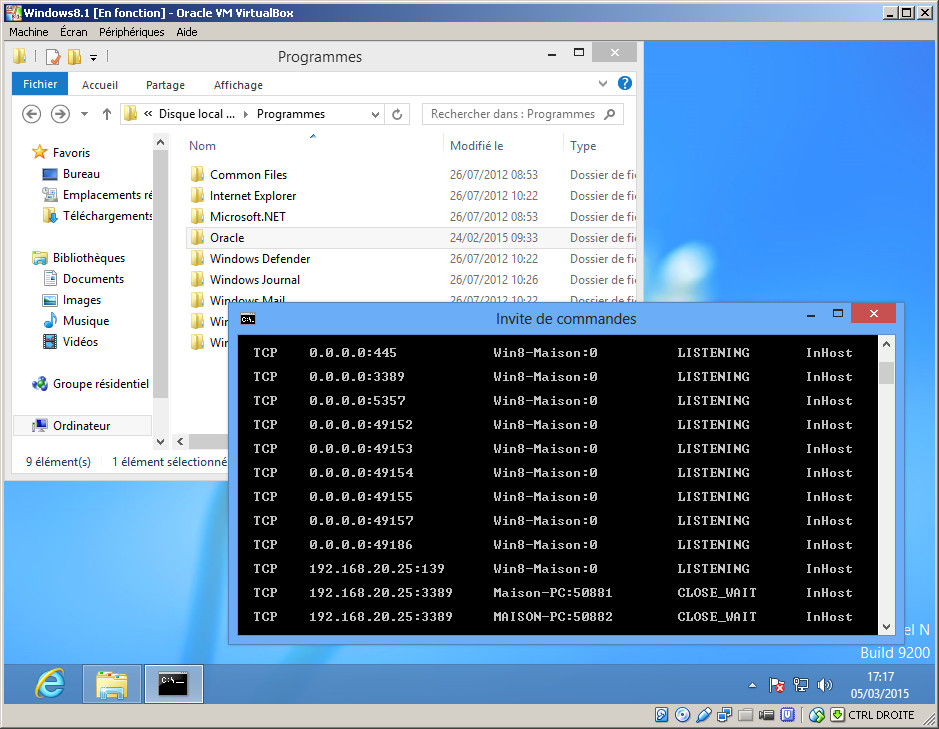 Client Windows 8 dans le logiciel de virtualisation Oracle VirtualBox