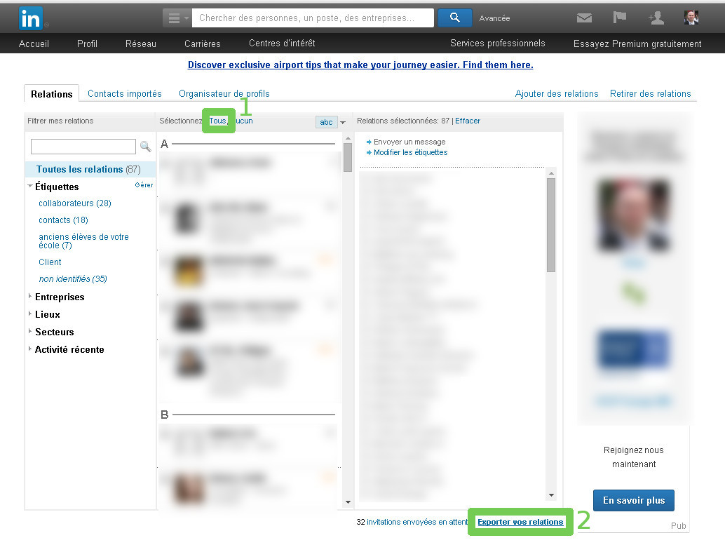 Export des contacts LinkedIn - étape 2